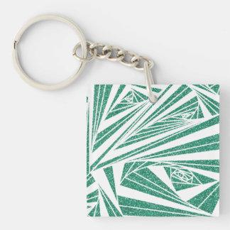 Porte-clés Motif de spirale de scintillement de turquoise sur