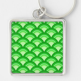Porte-clés Motif de vague d'art déco - vert de jade