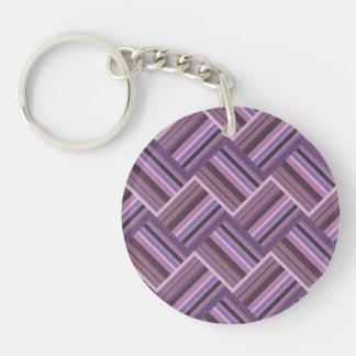 Porte-clés Motif diagonal d'armure de rayures mauve