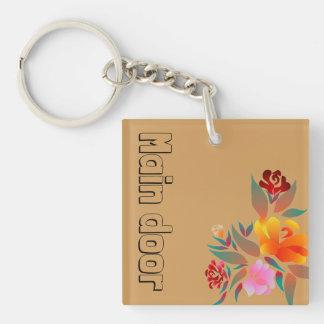Porte-clés Motif multicolore et floral, monogramme