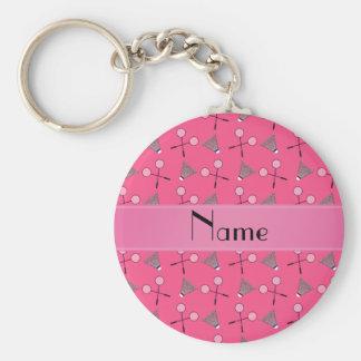 Porte-clés Motif rose nommé personnalisé de badminton