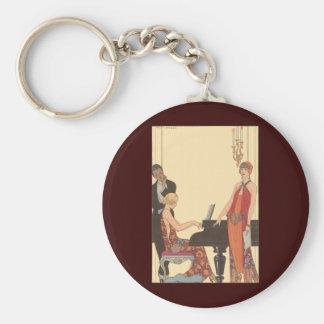 Porte-clés Musique vintage, chanteur de musicien de pianiste