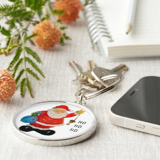Porte-clés Noël de père du père noël avec le sac et l'étoile