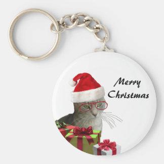 Porte-clés Noël sage à la mode drôle de chat de Père Noël
