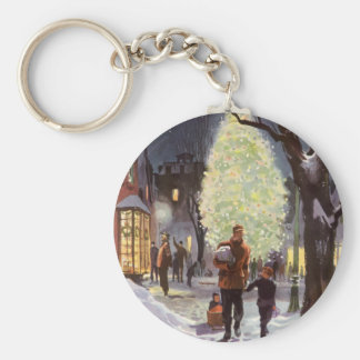 Porte-clés Noël vintage, achats de père avec les enfants