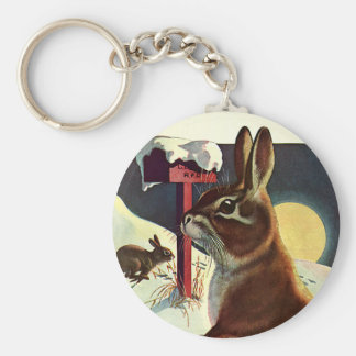 Porte-clés Noël vintage, lapins dans un pré de neige d'hiver