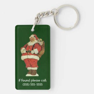 Porte-clés Noël vintage, le père noël victorien avec des