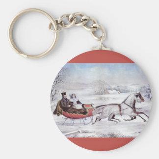 Porte-clés Noël vintage, l'hiver de route, cheval de Sleigh