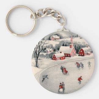 Porte-clés Noël vintage, patineurs de glace victoriens sur