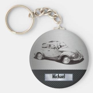 Porte-clés Noir argenté de vieille voiture chique masculine