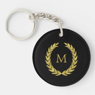 Porte-clés Noir et guirlande de laurier d'or de Faux avec le