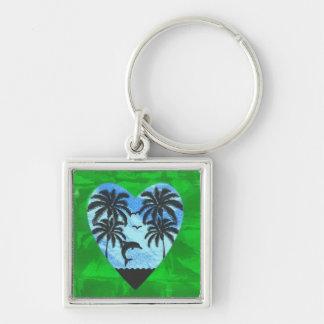 Porte-clés Noir tropical de coeur d'île, chaux, bleu de