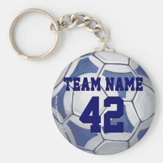 Porte-clés Nom de ballon de football et nombre bleus et