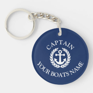 Porte-clés Nom de bateau et ancre nautique de capitaines