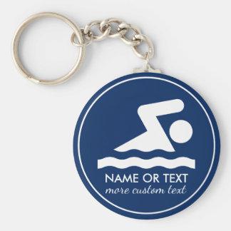 Porte-clés Nom fait sur commande de nageur d'équipe de