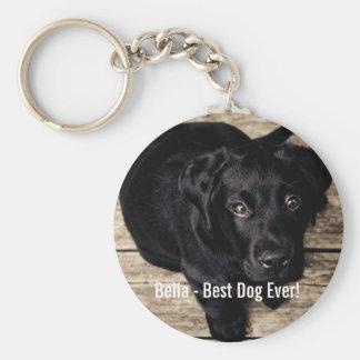 Porte-clés Nom noir personnalisé de photo de chien de