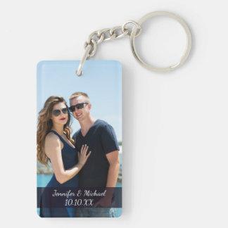 Porte-clés Noms et date de photo de couples d'amour