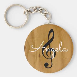 Porte-clés note musicale sur le bois avec le nom