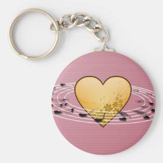Porte-clés Notes musicales avec la conception de coeur