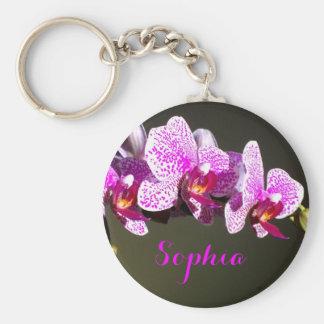 Porte-clés Orchidées roses - monogramme
