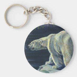 Porte-clés Ours blanc vintage, animaux arctiques d'espèce