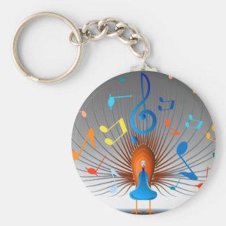 Porte-clés Paon coloré de notes musicales