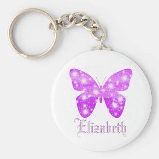 Porte-clés Papillon pourpre et étoiles personnalisés avec le