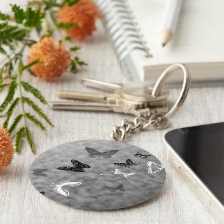 Porte-clés Papillons noirs de blanc de n