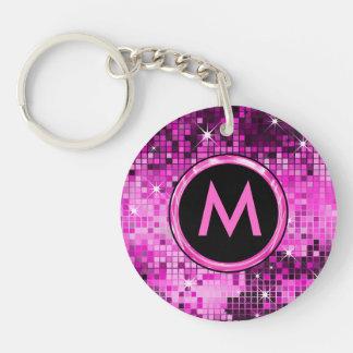 Porte-clés Parties scintillantes roses métalliques de disco