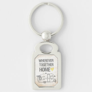 Porte-clés Partout où nous sommes ensemble remorque vintage