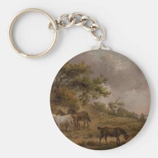 Porte-clés Paysage avec quatre chevaux par George Morland