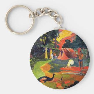 Porte-clés Paysage de Gauguin avec le porte - clé de paons