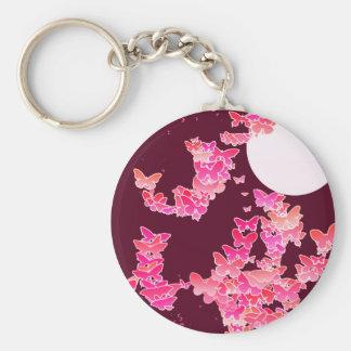 Porte-clés Paysage lunaire avec des papillons - rose,
