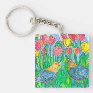 Porte-clés Peinture d'aquarelle d'oiseaux de cailles