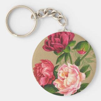 Porte-clés Peinture de roses roses et rouges