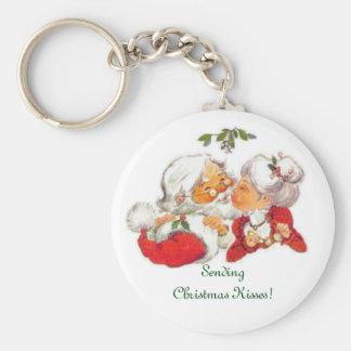 Porte-clés Père Noël de baiser vintage