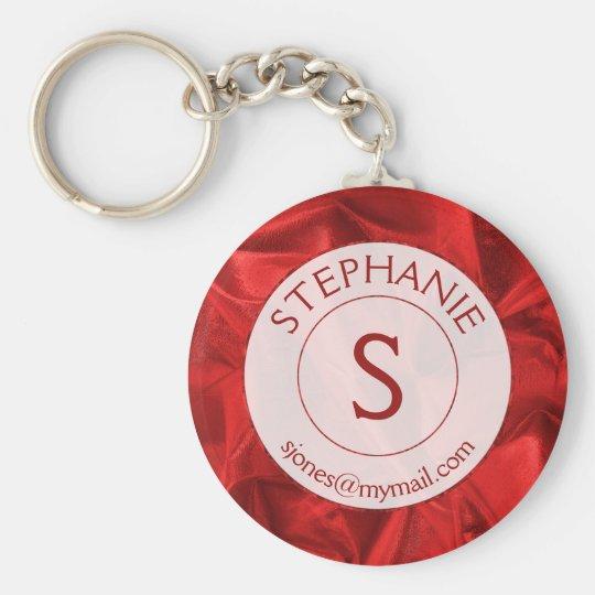 Porte-clés Personnalisez : Rond texturisé rouge de Name/ID