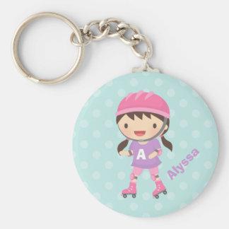 Porte-clés Petite fille mignonne de patineur de rouleau pour