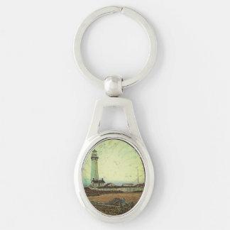 Porte-clés Phare chic côtier de paysage de peinture à l'huile
