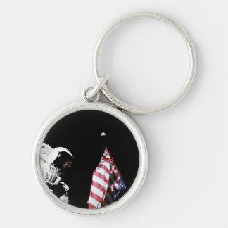 Porte-clés Photo de lune de la terre de drapeau d'astronaute
