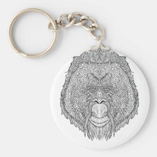 Porte-clés Pièce en t de singe d'orang-outan - coloration de