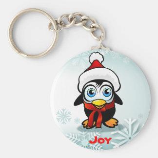 Porte-clés Pingouin mignon de bébé avec le casquette de Père