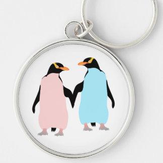 Porte-clés Pingouins roses et bleus tenant des mains