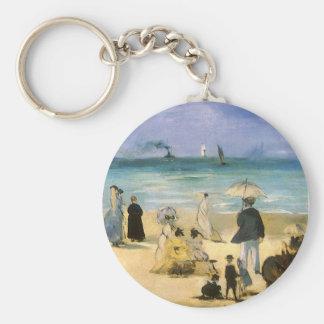 Porte-clés Plage à Boulogne par Manet, impressionisme vintage
