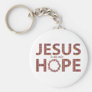 Porte-clés plaid de rouge d'espoir de Jésus