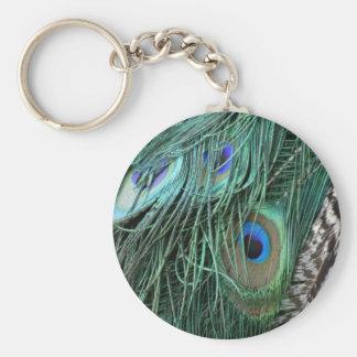 Porte-clés plumes exotiques de paon