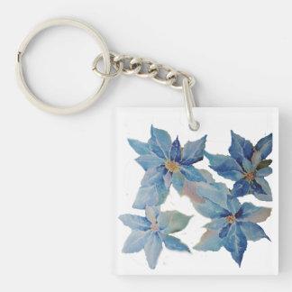 Porte-clés Poinsettias bleues géantes