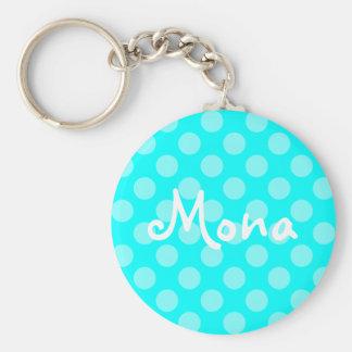 Porte-clés Point de polka léger personnalisé d'Aqua