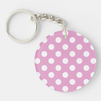 Porte-clés Pois blanc sur pâle - rose