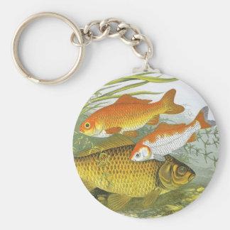 Porte-clés Poisson rouge aquatique vintage Koi, poisson marin